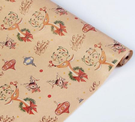"""Крафт бумага упаковочная """"Новый год, с оленями"""""""